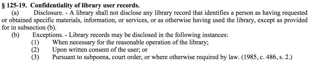 N.C. Gen. Stat § 125-19